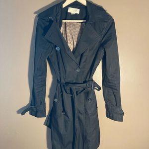 Michael Kors black hooded belted trench coat